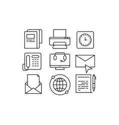 set business thin line icons collection vector image