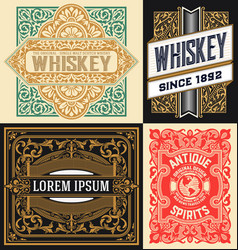 Set of 4 vintage labels vector