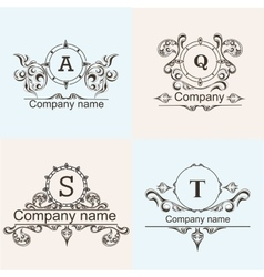 Set ornamental company logos vector