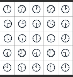 Set round clocks showing various time with 30 vector