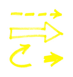 set yellow hand drawn marker arrows realistic vector image