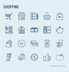 shopping thin line icons set vector image