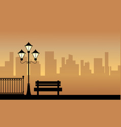 Silhouette of street lamp with chair landscape vector