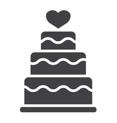 stacked love cake glyph icon valentines day vector image vector image