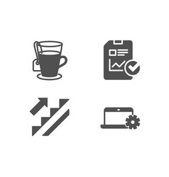 stairs tea and report checklist icons notebook vector image