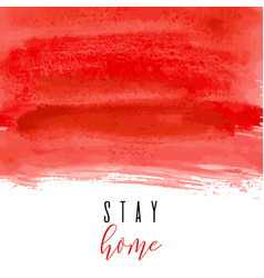 Stay home red ink watercolor icon vector