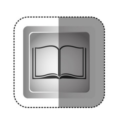Sticker grayscale square frame with opened book vector