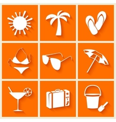 summer and beach icons in flat style vector image