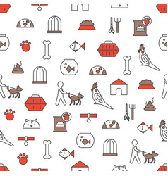Thin line art pets seamless pattern vector