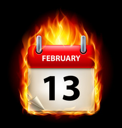 Thirteenth february in calendar burning icon on vector