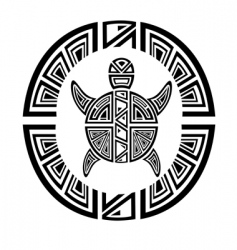 Tribal turtle wheel tattoo style vector