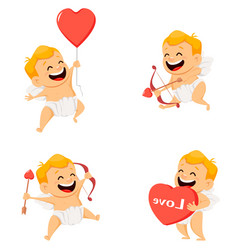 valentines day greeting card with cute cupid set vector image