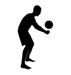 volleyball player hits the ball with bottom vector image
