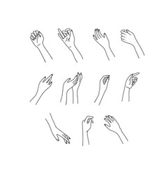 Woman s linear hand set line vector