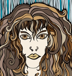 Woman with brown hair vector