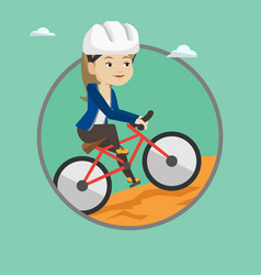 Young woman on bicycle traveling in the mountains vector