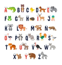 Zoo alphabet with cute cartoon animals vector