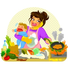 busy mom vector image