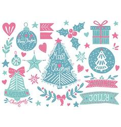 Christmas grunge set vector image