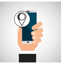 Hand phone pin map app media vector