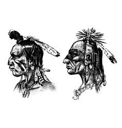 native american indian man with headdress and vector image