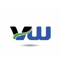 Vw company linked letter logo icon vector