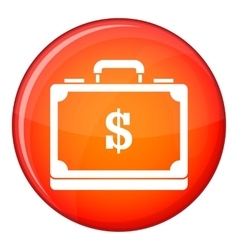 Briefcase full of money icon flat style vector image