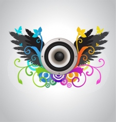 floral audio speaker vector image vector image