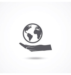 Globe with hand icon vector image vector image