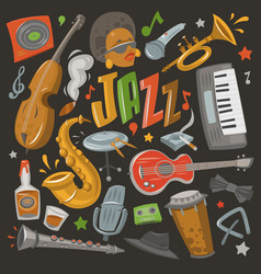 jazz musical instruments tools icons jazzband vector image vector image