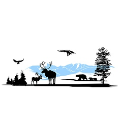 Mountain wildlife animals background vector image