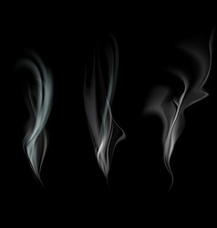 set of smoke isolated on a black background vector image vector image