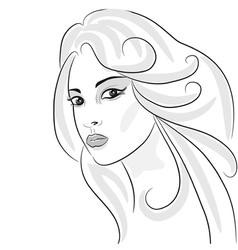 beauty girl sketch vector image vector image
