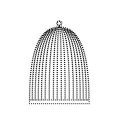 bird cage sign black dotted icon on white vector image