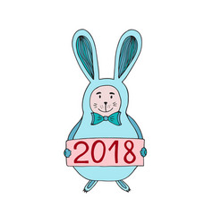 cute christmas bunny with vector image