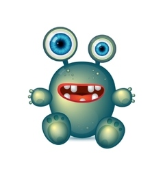 Green Monster with big eyes and red mouth vector image