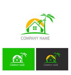 Home palm tree logo vector