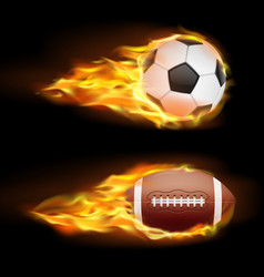 Set of sports burning balls balls for vector
