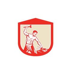 Blacksmith Worker Striking Sledgehammer Anvil vector image