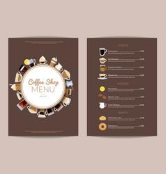 coffee shop vertical menu template vector image