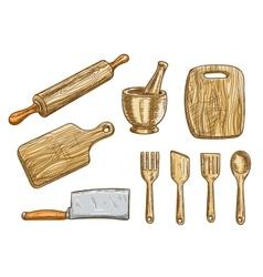Kitchen tools kitchenware appliances vector