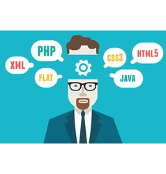 Programmer and process coding and programming vector image