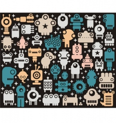 robots monsters background vector image vector image