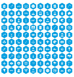 100 phobias icons set blue vector