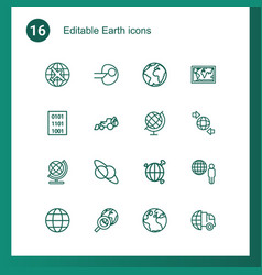 16 earth icons vector image