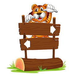 A tiger in scary mood at the back of signboard vector
