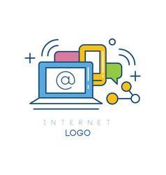 Abstract logo design with laptop smartphone and vector
