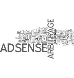 adsense arbitrage for money text word cloud vector image