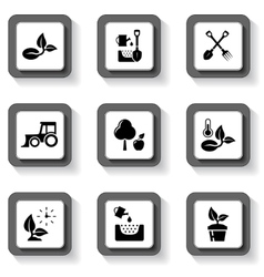 agriculture buttons set vector image