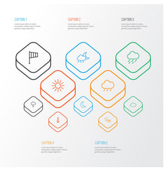 Air outline icons set collection of drizzle sun vector